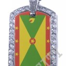 GRENADA Grenadine FLAG Iced Out CZ BLING Charm Dog Tag