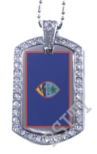 GUAM GUAHAN Chamorro FLAG Iced Out CZ BLING Charm Dog Tag