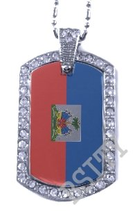 HAITI HAITIAN FLAG PENDANT Iced Out CZ BLING Charm Dog Tag