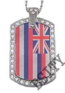 HAWAII HI STATE FLAG PENDANT Iced Out CZ BLING Charm Dog Tag