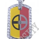 HEALING LODGE INDIAN FLAG Iced Out CZ BLING Dog Tag