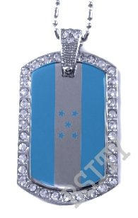 HONDOURAS HONDOURAN FLAG PENDANT Iced Out CZ BLING Charm Dog Tag