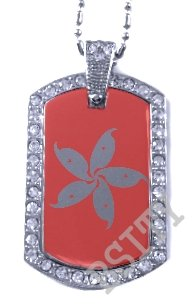 HONG KONG FLAG PENDANT Iced Out CZ BLING Charm Dog Tag