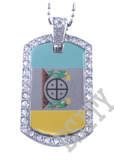HOPI TRIBE INDIAN FLAG Iced Out CZ BLING Dog Tag