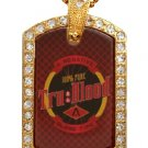 TRUE BLOOD DRINK GOLD CZ BLING CHARM Dog Tag NECKLACE
