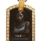 TARA TRUE BLOOD PHOTO GOLD CZ BLING CHARM Dog Tag NECKLACE