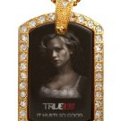 SOOKIE TRUE BLOOD PHOTO GOLD CZ BLING CHARM Dog Tag NECKLACE