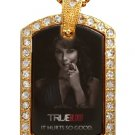 MARYANN TRUE BLOOD PHOTO GOLD CZ BLING CHARM Dog Tag NECKLACE