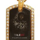 LAFAYETTE TRUE BLOOD PHOTO GOLD CZ BLING CHARM Dog Tag NECKLACE