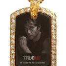 JASON TRUE BLOOD PHOTO GOLD CZ BLING CHARM Dog Tag NECKLACE