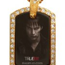 BILL TRUE BLOOD PHOTO GOLD CZ BLING CHARM Dog Tag NECKLACE