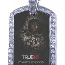 LAFAYETTE TRUE BLOOD PHOTO SILVER CZ BLING CHARM Dog Tag NECKLACE
