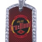 TRUE TRU BLOOD DRINK SILVER CZ BLING CHARM Dog Tag NECKLACE