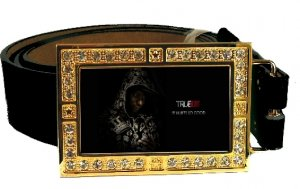 LAFAYETTE PHOTO TRUE BLOOD BLING CZ GOLD BELT BUCKLE