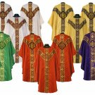 Trad Chasuble Vestment 4 Set Lot White or Gold, Red, Violet, and Green 5 Pieces
