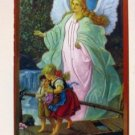 "Guardian Angel Wood Plaque Desk Style Children's Size 5"" x 3.5"" Lovely"