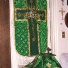 Green Chasuble Vestment Fiddleback 5 Pcs NEW + Maniple, Stole, Veil, Burse Latin
