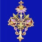 "A Catholic Vestment Applique Fuschia Flower Symbol 13"" x 8 1/2"" Inches  NEW"