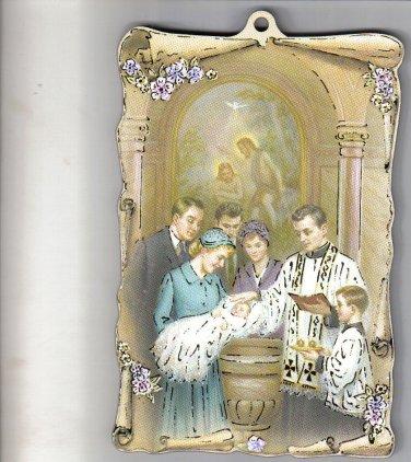 "Traditional Catholic Baptism Wood Plaque 4"" x 5 3/4"""