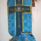Blue Marian Chasuble Set Fiddleback Vestment Latin Mass NEW Gold Embroidery