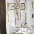 White Fiddleback Chasuble Set Vestment 5 Pcs NEW+Maniple,Stole,Veil,Burse Latin