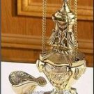 "Catholic Hanging Brass Censer & Boat Set 12"" High x 5"" Diameter x 40"" Chain"
