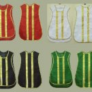 Spanish Fiddleback Vestment Set Lot: 5 Sets @ Red,Green,Black,White/Gold,Violet