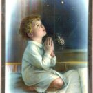 Catholic Picture Print Wood Plaque Boy Praying Baptism New Baby Mylar Frame