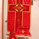 Red Chasuble Set Vestment Fiddleback Jacquard Fabric 5 Pieces NEW