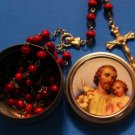 Red Brown Cordovan Wood Rosary 7MM +St. Joseph Tin Rosary Case w/ Prayer VALUE!