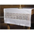 "100% Linen Catholic Altar Cloth Lace Inserts IHS Design 28"" x 75"" Size"
