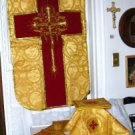 Gold Chasuble Vestment Fiddleback Set Latin Mass NEW+Maniple,Stole,Veil,Burse