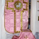 Rose Chasuble Set Vestment Fiddleback Catholic NEW + Maniple,Stole,Veil,Burse