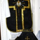 Chasuble Set Black Fiddleback Latin Requiem Mass + Veil,Burse,Maniple,Stole