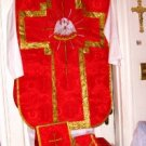 Red Chasuble Set Fiddleback Pelican Latin Mass NEW + Stole,Maniple,Veil,Burse