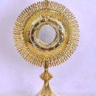 "Catholic Church Monstrance 24 Karat Gold Plated 19"" High with 3"" Luna Lovely"
