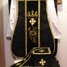 Black Fiddleback Chasuble Requiem Mass Vestment Set+Veil,Maniple,Stole,Burse