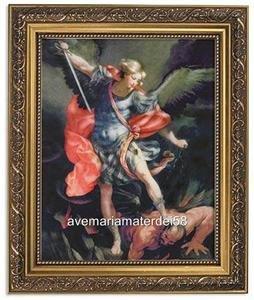 "Saint Michael by Reni Catholic 8"" x 10"" Print 11"" x 14"" Gold Frame Under Glass"