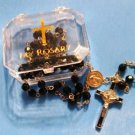 "Saint Benedict First Communion Black Faceted Rosary 19.5""L + Vinyl Rosary Case"