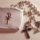 "First Communion Rosary Set, White 19.5"" Rosary and Pax White Vinyl Rosary Case"