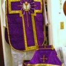 Purple Chalice Chasuble Set Vestment Fiddleback 5 Pcs + Maniple,Stole,Veil,Burse