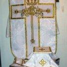 White Fiddleback Chasuble Fancy Embroidery Vestment Set+Veil,Maniple,Stole,Burse