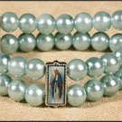 Blue Marian Glass Pearl Bead Bracelet with 3 Images of Virgin Mary Adjustable