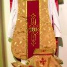 Gold Chasuble Jacquard Fabric Maroon Orphrey Fiddleback Vestment Set Catholic