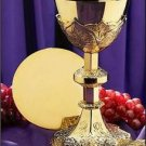 "Catholic 24Kt Gold Plated Chalice Set 12 oz. 9.25""H x 4.5""D with Paten 5.5""D"
