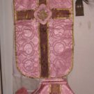 Rose Chasuble Set Vestment Fiddleback Catholic NEW + Veil,Stole,Maniple,Burse