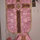 Rose Chasuble Set Vestment Fiddleback Catholic NEW + Veil,Stole,Maniple,Burse