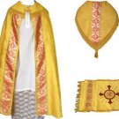 Gold Cope Vestment Satin Lined Traditional Catholic + Embroidered Humeral Veil