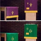 Catholic Vestment Pulpit Scarf+Bookmark+Table Runner Set Reversible Purple/Green