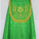 Green Cope Vestment with Stole Gold Embroidery Satin Lined Traditional Catholic